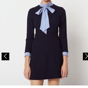 NWT🎀Sandro Navy Tie Neck Dress